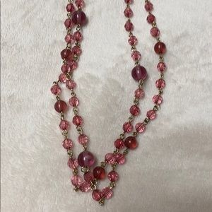 Pink/purple beaded necklace